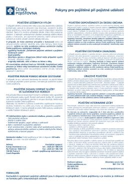 Pokyny pro pojištěné při pojistné události