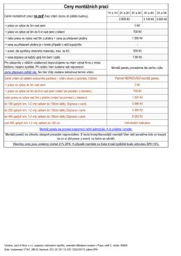 Ceny montážních prací