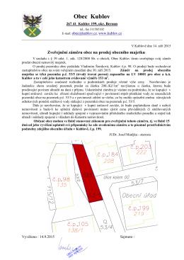 Zveřejnění záměru na prodej obecního majetku - p.č. 53_5