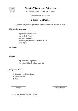 Zápis č. 10/2015 z jednání rady města konaného dne 18.5.2015