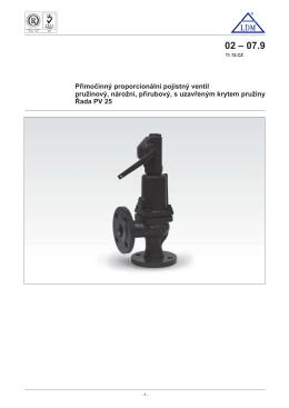 Přímočinný proporcionální pojistný ventil pružinový, nárožní