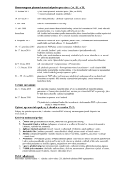 Harmonogram písemné maturitní práce pro obory OA, EL a TL