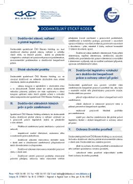DODAVATELSKÝ ETICKÝ KODEX - ČKD Blansko Holding, a.s.