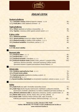 JÍDELNÍ LÍSTEK - Restaurant Lucullus