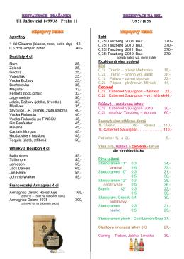 Nápojový lístek Restaurace Pražanka PDF