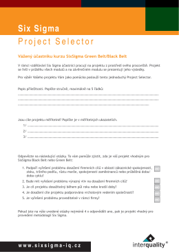 Six Sigma Project Selector