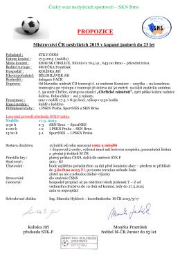 Propozice M CR Fotbal Juniori 17.5^.2015