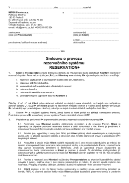 Smlouvu o provozu rezervačního systému RESERVATION+