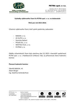 Výběrové řízení Filtry 2015 - 2016
