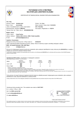 potvrzení o rtg vyšetření na dysplazii loketních kloubů - Finta-Star