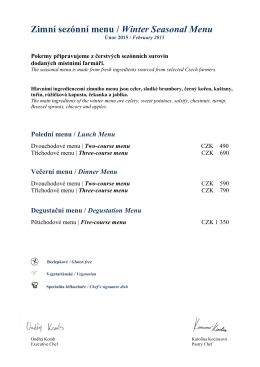 Zimní sezónní menu / Winter Seasonal Menu