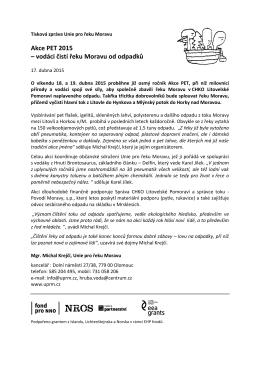 Tisková zpráva Unie pro řeku Moravu