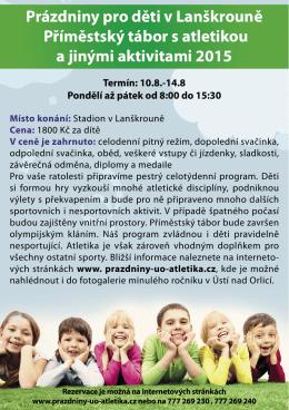 Prázdniny pro děti v Lanškrouně Příměstský tábor s atletikou a