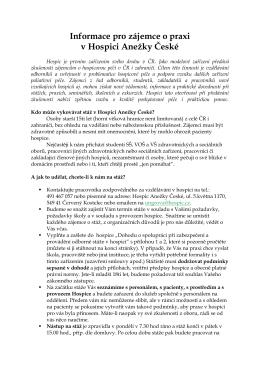 Informace pro zájemce o praxi v Hospici Anežky České