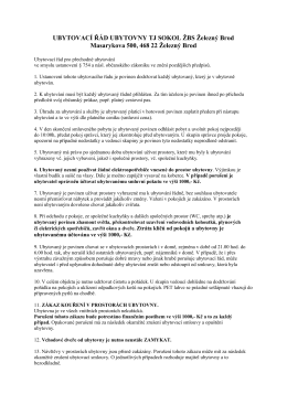UBYTOVACÍ ŘÁD UBYTOVNY TJ SOKOL ŽBS Železný Brod