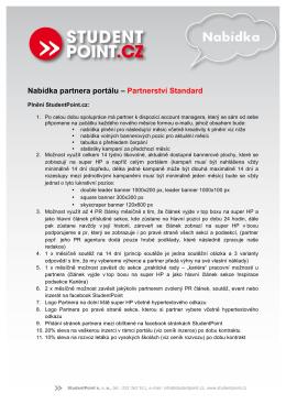 Nabídka partnera portálu – Partnerství Standard