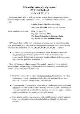 Minimální preventivní program ZŠ TGM Rajhrad školní rok 2015/16