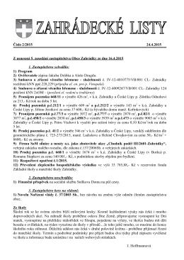 Číslo 2/2015 24.4.2015 Z usnesení 5. zasedání