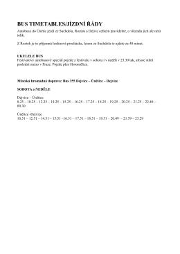 BUS TIMETABLES/JÍZDNÍ ŘÁDY