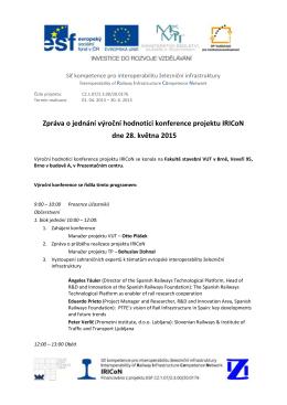 Zpráva o jednání výroční hodnotící konference projektu IRICoN dne