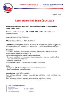Letní brankářská škola ČSLH 2015