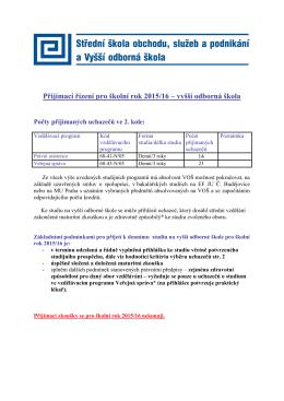 Přijímací řízení pro školní rok 2015/16 – vyšší
