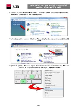 Odstranění tzv. Java appletů pro operační systémy Windows XP a