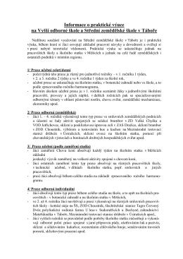Informace o praxi - Vyšší odborná škola a Střední zemědělská škola