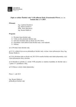Zápis ze schůze školské rady Vyšší odborné školy živnostenské