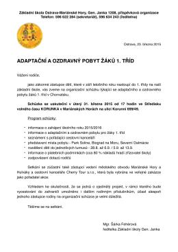 pozvánka na organizační schůzku 2015