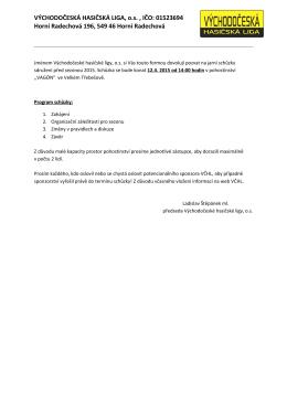 Pozvánka na jarní schůzku VČHL do Velkého Třebešova