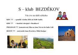 Pozvánka na lednovou schůzku S klubu s Janou Dvorskou a