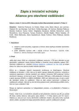 Zápis z iniciační schůzky Aliance pro otevřené vzdělávání