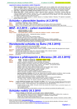 Akce a informace na březen 2015 ()