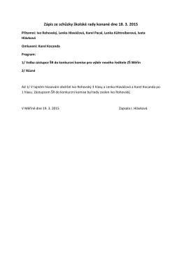 Zápis ze schůzky školské rady konané dne 18. 3. 2015