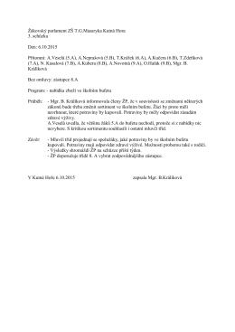 Zápis ze 3.schůzky - ZŠ TG Masaryka, Kutná Hora