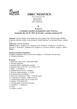 9. zápis z veřejného zasedání Zastupitelstva obce Nesovice