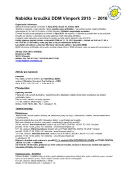 Nabídka kroužků DDM Vimperk 2015 – 2016