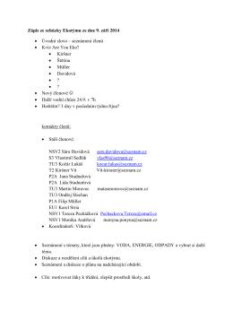 Zápis ze schůzky Ekotýmu ze dne 9. září 2014 • Úvodní slovo