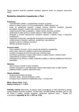 Ředitel/ka oblastního inspektorátu v Plzni