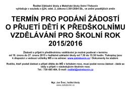 Ředitel Základní školy Dolní Třebonín, okres Český Krumlov