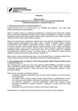 Oznámení Výběrové řízení na člena představenstva ve výkonné a