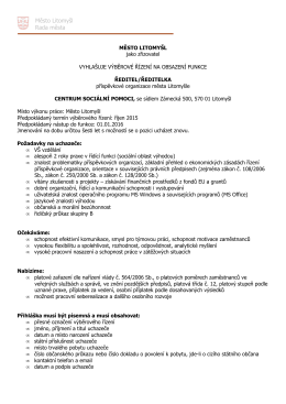 Oznámení o vypsání VŘ ředitel CSP 2015 VAR B