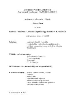 ředitele / ředitelky Arcibiskupského gymnázia v Kroměříži