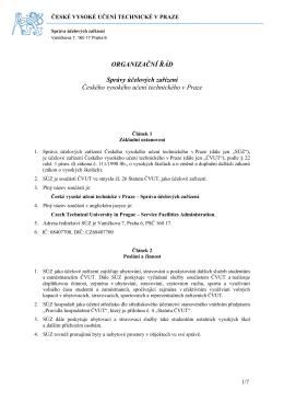 Organizační řád - Správa účelových zařízení ČVUT