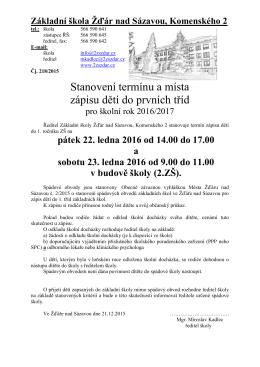 Kriteria... - Základní škola Žďár nad Sázavou, Komenského 2