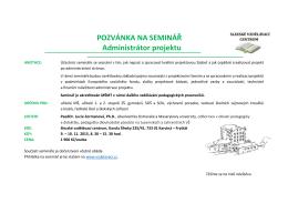POZVÁNKA NA SEMINÁŘ Administrátor projektu