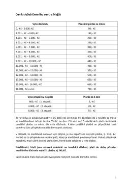 Ceník služeb Denního centra Maják