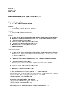 Zápis ze členské schůze spolku Trip Team, z.s.