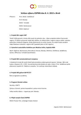 Zápis ze schůze výboru, 8. 4. 2015